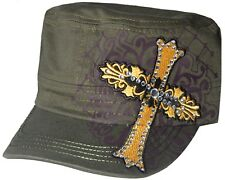 Women's Cadet Hat Rhinestone Yellow Embroidered Cross New Design Hat Cap Olive