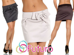 Womens Elegant Draped Mini Skirt with Pockets and Bow Classy Satin Design 3308