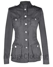 Ladies Military Style Summer Jacket 1442 Silver Button Dark Grey