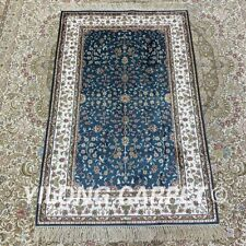 YILONG 2.5'x4' Blue Handknotted Silk Area Rug Traditional Floral Carpet H185B