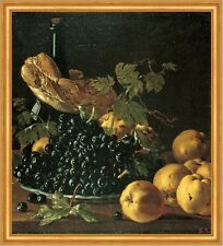 Still Life with Bread, apples, grapes and a bottle Melendez Grape B a2 02837