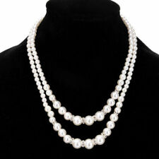 Fashion Two layer Strand Chain White Pearl Beads Cluster Choker Necklace Jewelry