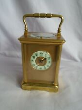 ANTIQUE LARGE FRENCH MASKED DIAL  REPEATER CARRIAGE CLOCK + KEY IN GWO