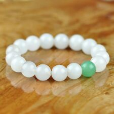 Fashion 10mm White Jade & green Emerald Gemstone Beads Bangle  Bracelet PB44