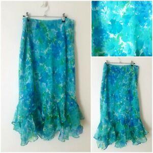 Vintage Blue Green Floral Boho Flamenco Mermaid Flared Midi Skirt Size 22/20