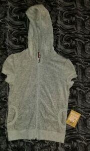 New Juicy Couture Gray Short Sleeve Metallic Pink Zip Up Size P