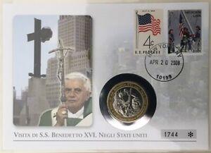 2008 Numisbrief mit Medaille, Papst Benedikt Besuch in den USA Vatikan limitiert