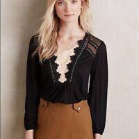 Meadow Rue Anthropologie Nimah Black Cream Lace Trim Heather Blouse Top Size S