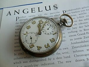 Rare Vintage Angelus Pocket Alarm Swiss 15 Jewel 4 Adj. Nickel Case Watch Runs