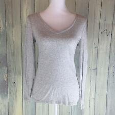 Old Navy Size Medium Long Sleeved V-Neck Gray Shirt 100% Cotton