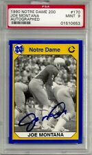 1990 JOE MONTANA RARE PSA/DNA 9 Mint RARE (private signing) Notre Dame Card #170