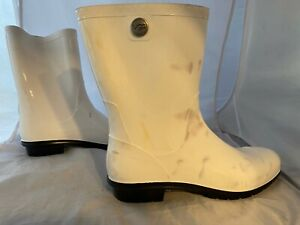 NEW UGG Sienna Rain Boot, Shiny White, Size Women 11   STAINED