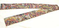 "Vintage 1960s 1970s Colorful Paisley Print Long Scarf Headband-70"" x 4"""