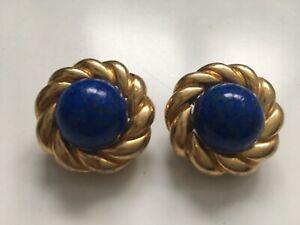 Vintage Ciner Gold Tone and Faux Lapiz Lazuli Earrings