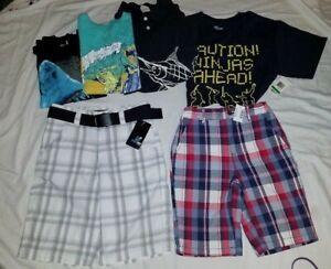 NWT Lot 2 Boy Shorts Belt 10 Childrens Place Amplify Plaid + 4 EUC Shirts 1 NWT