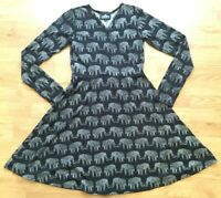 Angie Women's Wrap Front Dress Black Size S Elephant Long Sleeve Cotton