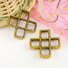2Pcs Antiqued Gold 2Holes 2Strands Cross Spacer Beads 26.5mm A5255