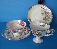 Japan Shafford Lustreware Porcelain Footed Floral Brushed Gold Teacup Pair