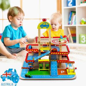Wooden Car Park Car Garage Toy Set Colourful  Ramp Parking Kids 4 Levels Playset