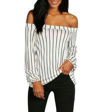 Gestreifte taillenlange Damenblusen, - Tops & -Shirts in Größe 46