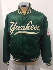 Starter New York YANKEES Baseball Green Bomber Nylon PADDED JACKET, Size L, VGC