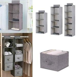 Hanging Closet Clothes Hanging Organizer Shelf Storage Foldable Wardrobe Ra X4F2