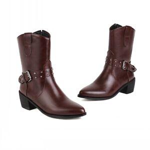 Women Block Low Heel Comfort Outdoor Pointy Toe Buckle Ankle Boots 45 46 47 48 D