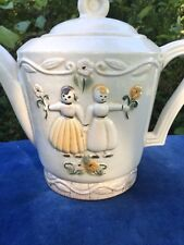 Vintage Porcelier Teapot Tea Pot Dutch Boy & Girl Hand Painted ANTIQUE Made USA