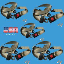 5 Car Seat Belt Beige Lap 2 Point Safety Adjustable Retractable Auto Universal
