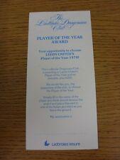 circa 1979 Leeds United: The Ladbroke Dragonara Club Player Of The Year Award, N