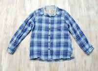 L.L. Bean Women's Blue Flannel Plaid Fleece Lined Button-front Top Small
