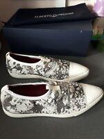 RRP€205 ALBERTO GUARDIANI Slip On Shoes EU 38 UK 5 US 8 Rhinestone Made in Italy