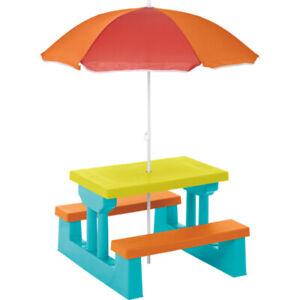 Kids Picnic Table Bench Garden Outdoor Wooden Parasol Children's Rainbow Patio