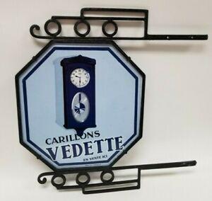 Rare VTG 1930's Carillons Vedette 2 Sided Porcelain Clock Dealer Sign in Bracket