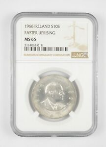 Better MS65 1966 Ireland 10 Scilling Silver Easter Uprising Graded NGC *758