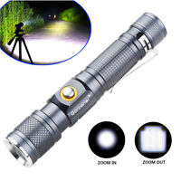 90000LM LED T6 Flashlight Torch Lamp Zoomable+18650 Rechargeable Battery+Charger