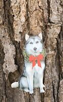 Siberian Husky with Holiday Christmas Wreath Primitives by Kathy Ornament