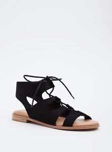 Torrid Lace Up Gladiator Sandals Wide Width Black Sz 11.5 #75719