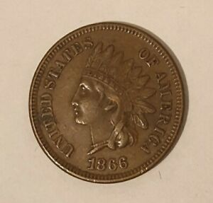 1866 USA INDIAN HEAD ONE CENT COIN