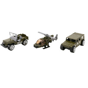 3pcs 1:64 Army Soldiers Toy Jeep Car War Car Helicopter Model Kits