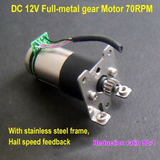 DC 12V 70RPM High Torque Full Metal Gear Geared DC Motor W/ Hall Speed Feedback