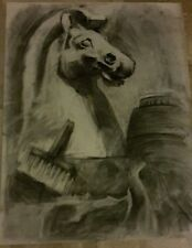 Original large charcoal drawing-65x50cm horse-white tower-Thessaloniki-Greece