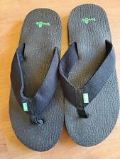 Men's Sanuk YOGI 4 SMS10966/BWV Black Weave Slip-on Flip-Flop Sandal Shoes 12