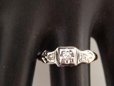 ART DECO  3-stone European Cut Diamond Ring .09 tcw G/VS 14k Estate Handmade