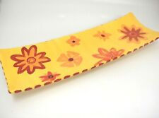 Vintage Ceramic Bread Tray Yellow Red Orange Funky Flowers 1970s 16x6