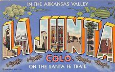 C64/ La Junta Colorado Co Postcard 1944 Large Letter Greetings Linen Sante Fe