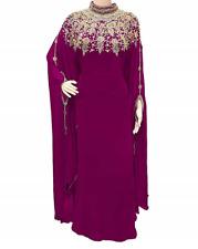 Dubai Wine Moroccan Kaftan Georgette Dress Jilbab clothing Farasha Ms 2019