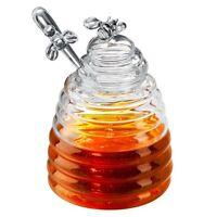 Artland Glass Bee Hive Honey Pot Jar With Dipper Lid Handle, 15 oz
