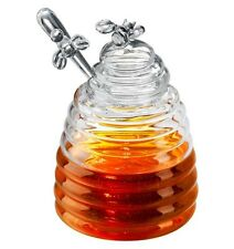 Artland Glass Bee Hive Honey Pot Jar With Dipper Lid Handle, 15 oz