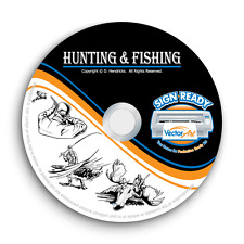 HUNTING+FISHING CLIPART-VECTOR CLIP ART-VINYL CUTTER PLOTTER+T-SHIRT GRAPHICS CD